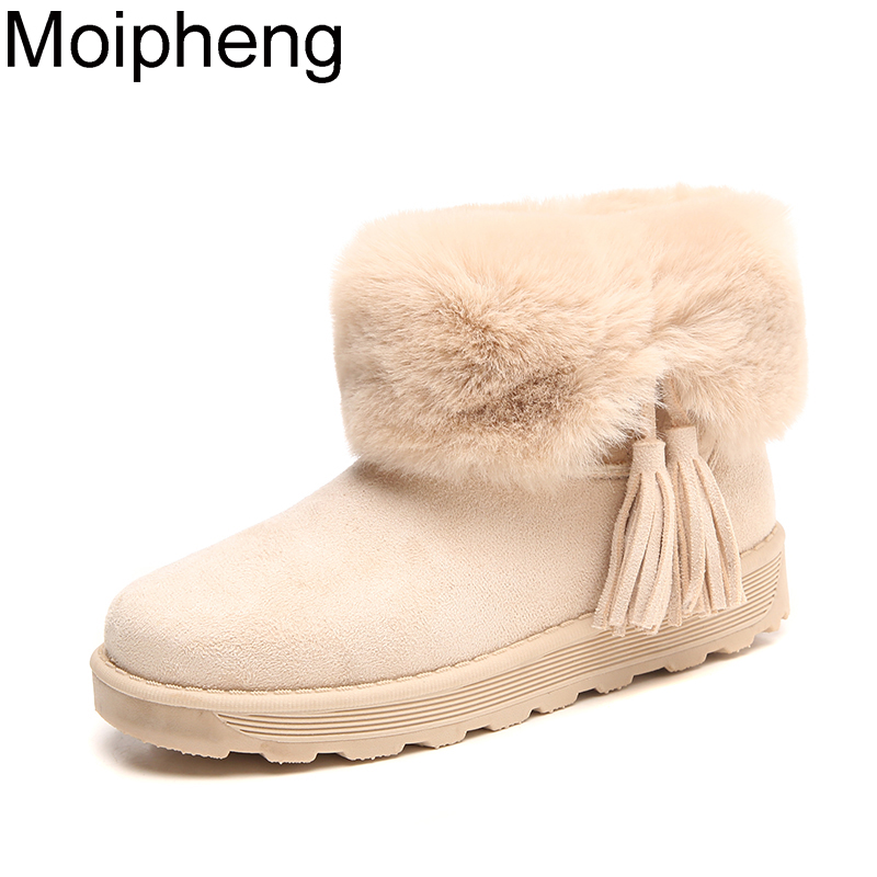 Moipheng Snow Boots Plush Warm 2019 New Nubuck Winter Rabbit Hair Women Shoes Ankle Cotton Boots Ladies Zapatos De Mujer Botas