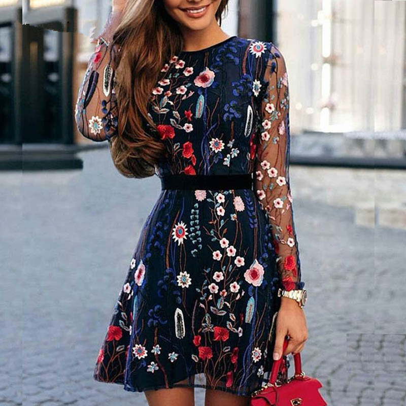 2020 Sexy Women Floral Embroidery Dress Sheer Mesh Summer Boho Mini A-line Dress Lady See-through Party Dresses Vestidos