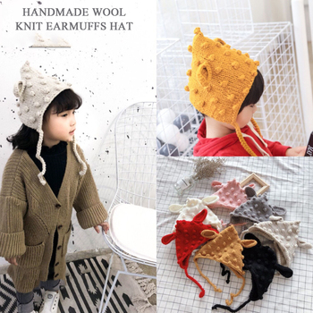 New autumn and winter children's handmade wool knit hat cartoon style earmuffs hats boys and girls warm hat new style 17 17 cm 100% wool anomalistic fascinator base hat millinery form 10pcs lot