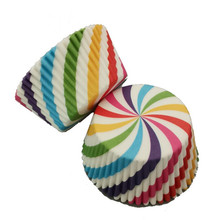4YANG 100pcs Colorful Rainbow Cooking Tools Grease-proof Paper Cup Cake Liners Baking Muffin Kitchen Cupcake Cases Mold