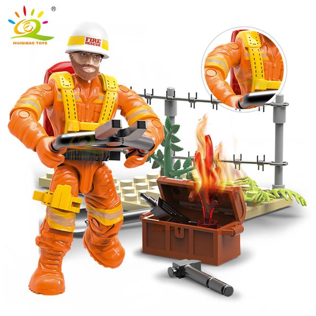 HUIQIBAO 8pcs 1:36 Firefighter figures model Building Blocks City Firemen dolls Accessories Bricks children Educational Toys