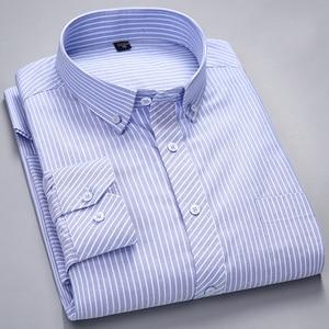 Image 1 - الرجال طويلة الأكمام منقوشة مخطط أكسفورد قمصان واحدة التصحيح جيب قسط الجودة القياسية صالح زر أسفل القطن قميص غير رسمي