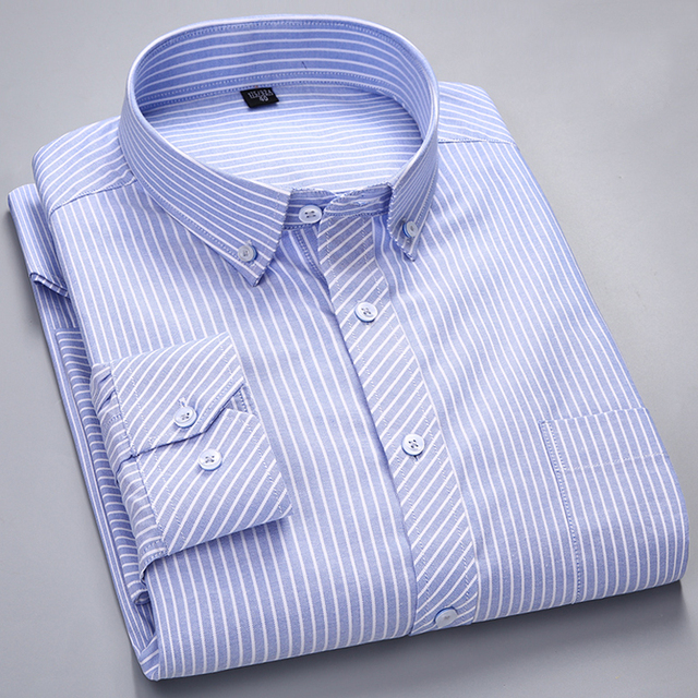 الرجال طويلة الأكمام منقوشة مخطط أكسفورد قمصان واحدة التصحيح جيب قسط الجودة القياسية صالح زر أسفل القطن قميص غير رسمي