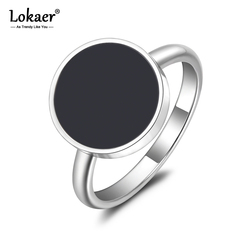 Lokaer Trendy OL Style Anniversary Ring For Women Girls 10/12mm Black Acrylic Stone 316L Stainless Steel Rings Jewlery R19048