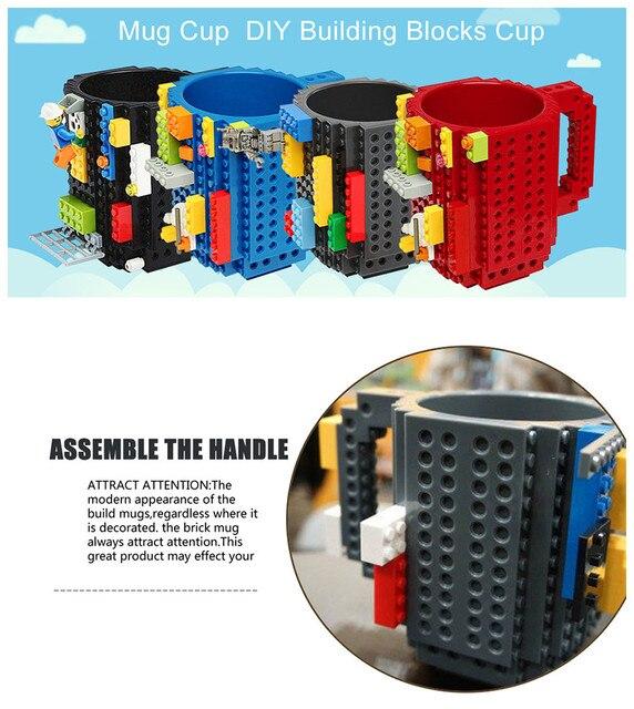 350ml criativo caneca de café crianças adulto talheres lego caneca bebida copo de mistura louça conjunto para a criança blocos de construção design presente