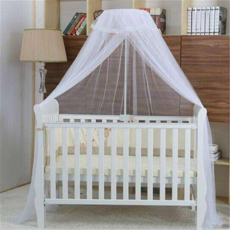 Baby Bed Mosquito Net Cover With Lace Foldable Waterproof And Breathable Mesh Net With Royal Court Style Canopy For Cribs