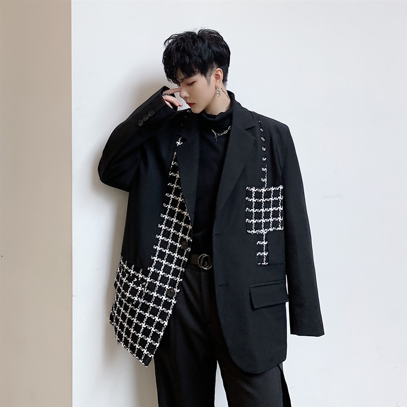 Men Vintage Plaid Splice Loose Casual Suit Jacket Male Japan Harajuku Streetwear Suit Blazer Coat Outerwear Stage Show Clothes