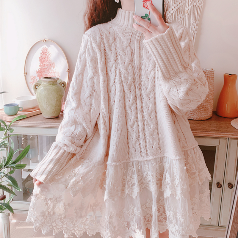 Original Design AIGYPTOS Spring Autumn Women Causal Loose Pullover Sweater Sweet Cute Embroidery Lace Patchwork Twisted Sweater