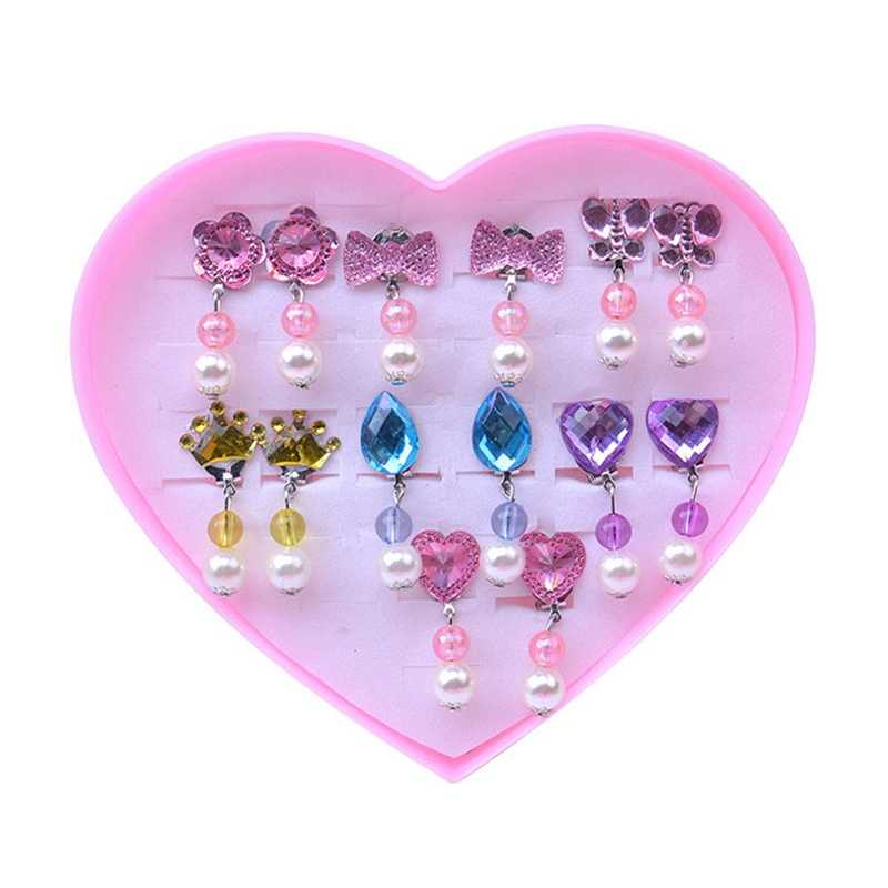 Kids Girls Jewelry Set Flower Crystal Clip Earrings Rings Jewelry With Gift Box Sweet Prince For Children Birthday Gift