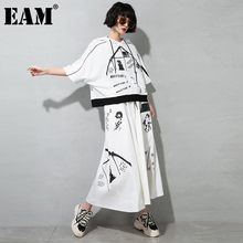 [EAM] High Elastic Waist White Pattern Printed Long Casual  Half-body Skirt Women Fashion Tide New Spring Autumn 2021 1DD7740