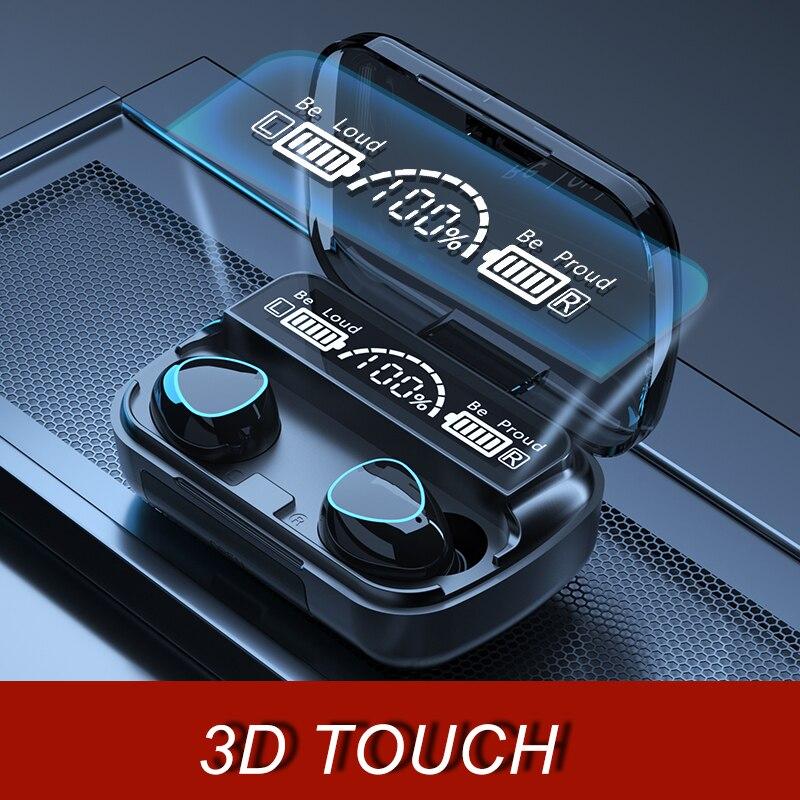 3500mAh TWS Bluetooth אלחוטי אוזניות 9D סטריאו ספורט Bluetooth אוזניות LED עמיד למים אוזניות אוזניות עם מיקרופון