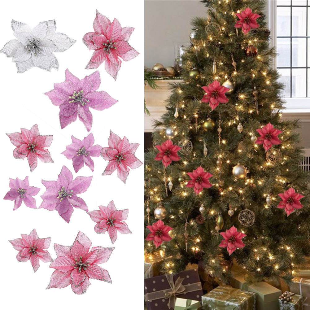 Poinsettia Christmas Ornaments Tree Hanging Flower Glitter Party Decoration Y