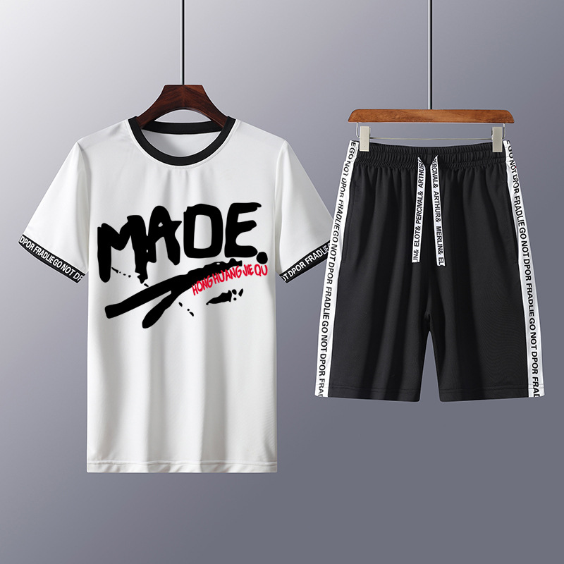 Summer Casual Suits Men Short Sleeve Set Mens Tracksuit Top Tee Shirts + Shorts Male Sweat Suit Jogging Homme Sporting Clothes