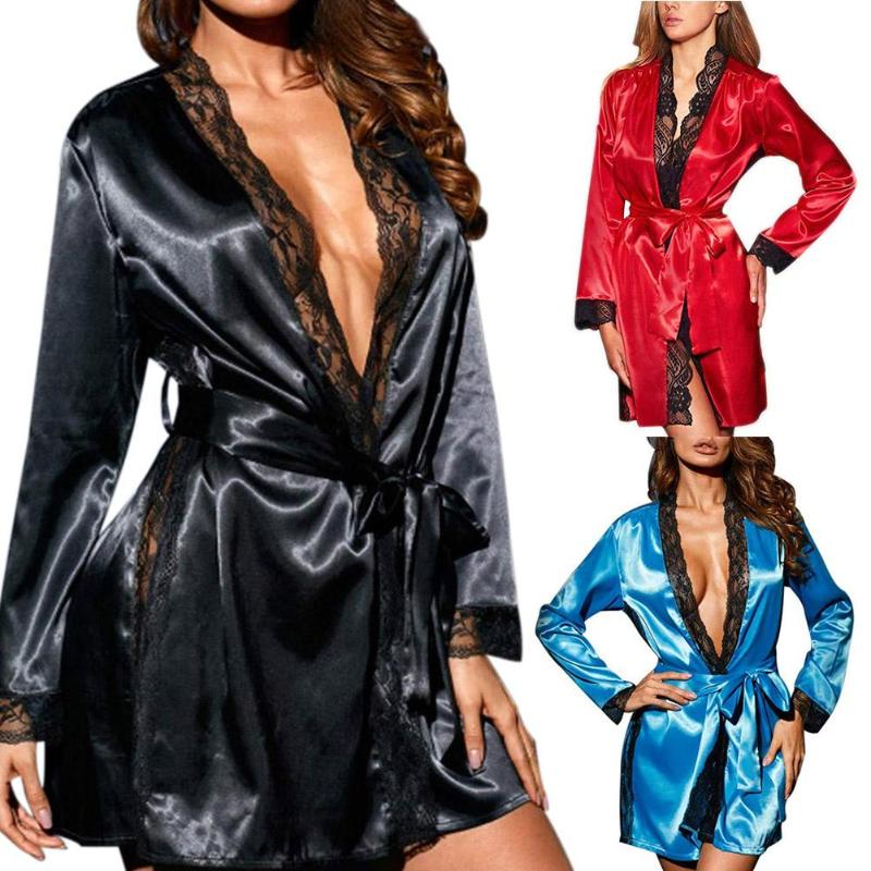 Women Sexy Lingerie Erotic Mesh Bathrobe Cardigan Nightgown Lace Sleepwear