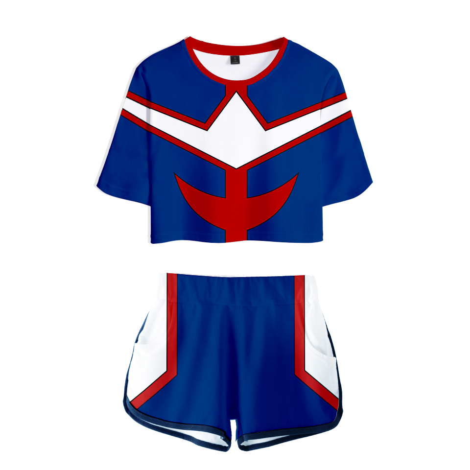 My Hero Academia Sets Two Piece Set+Short Pants <font><b>Hot</b></font> anime Cool Midriff T-Short <font><b>Girl</b></font> <font><b>Sexy</b></font> Suit Summer Excellent Women Tshirt <font><b>XXL</b></font> image