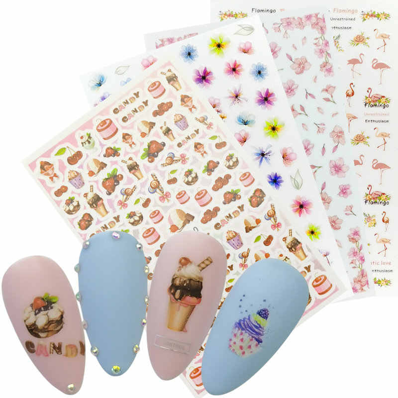 1 Vel 3D Nail Stickers Zelfklevende Stickers Bloemen Leaf Geometry Fruit Dessert Ontwerpen Sliders Tattoo Manicure Decoraties