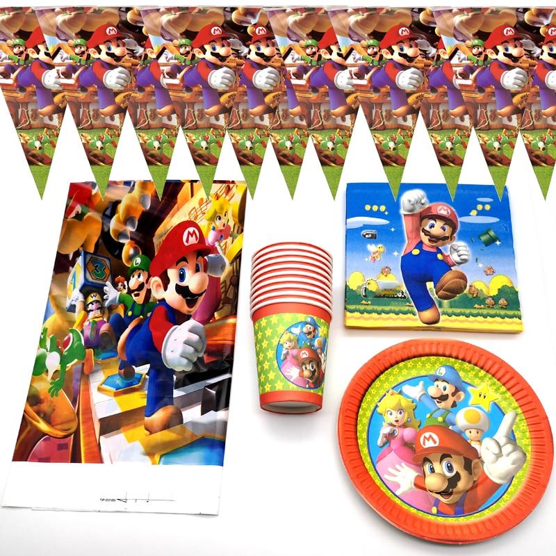 51 шт./лот набор посуды в стиле Super Mario, салфетки для дня рождения, флажки, скатерть для будущей мамы, тарелки, чашки, украшения для мальчиков, су...