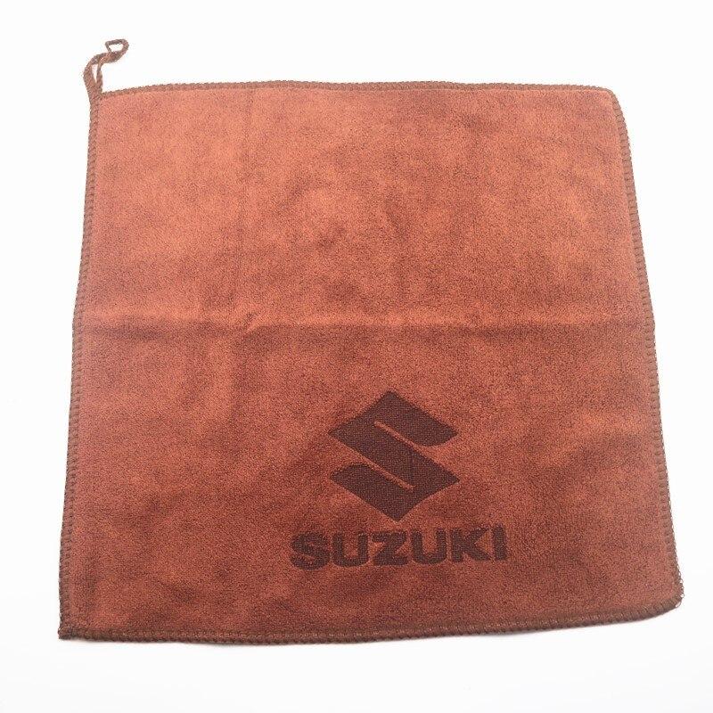 30*30CM Car Sticker Wash Microfiber Towel Car Cleaning For Suzuki Jimny SWIFT VITARA SX4 Emblem Car Styling