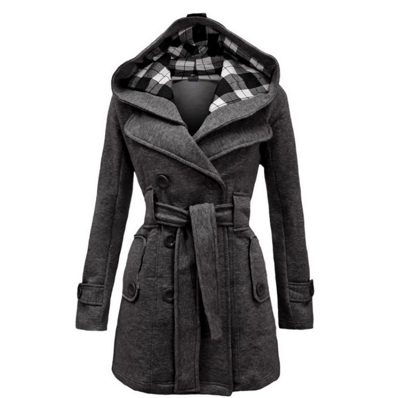 Winter Women Jacket New Casual Solid Color Hooded Coat Belt Double-breasted Dense Mid-long Thick Coat Long Jacket Women S-3XL