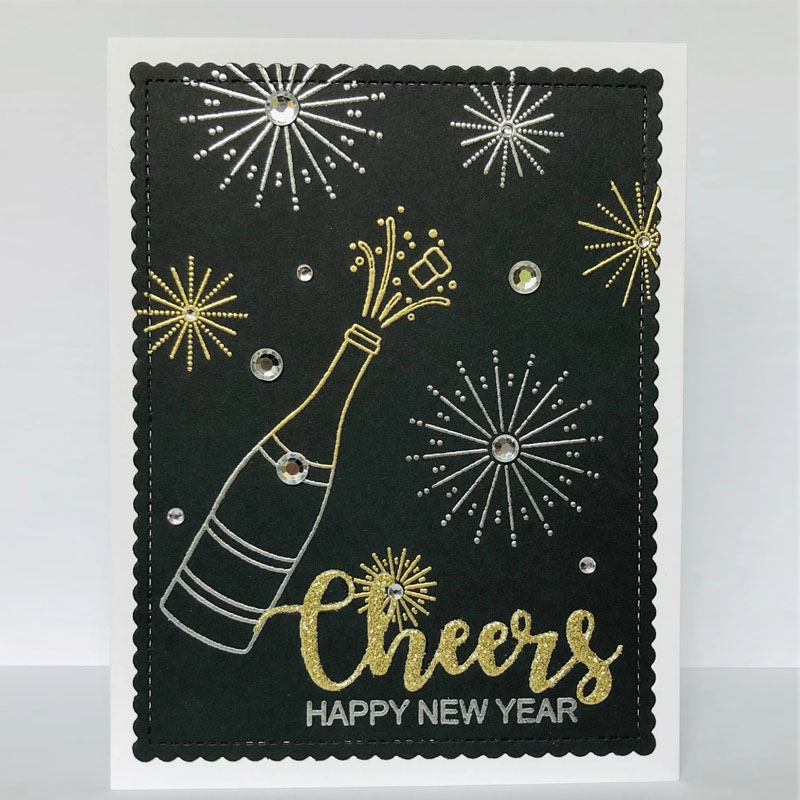 <font><b>2020</b></font> <font><b>Happy</b></font> <font><b>New</b></font> <font><b>Year</b></font> Wine Bottle And Goblet Stamps And Dies DIY <font><b>Cards</b></font> Album Making Scrapbooking Embossing Clear Stamps Cheers Die image