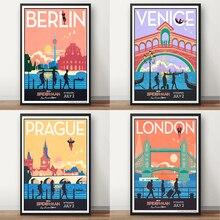 Carteles de viaje de la vendimia de la ciudad de Londres de Venecia de Berlin
