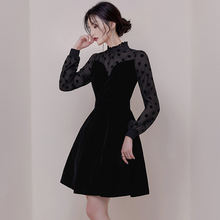 Женский корсет с длинным рукавом повседневное черное платье