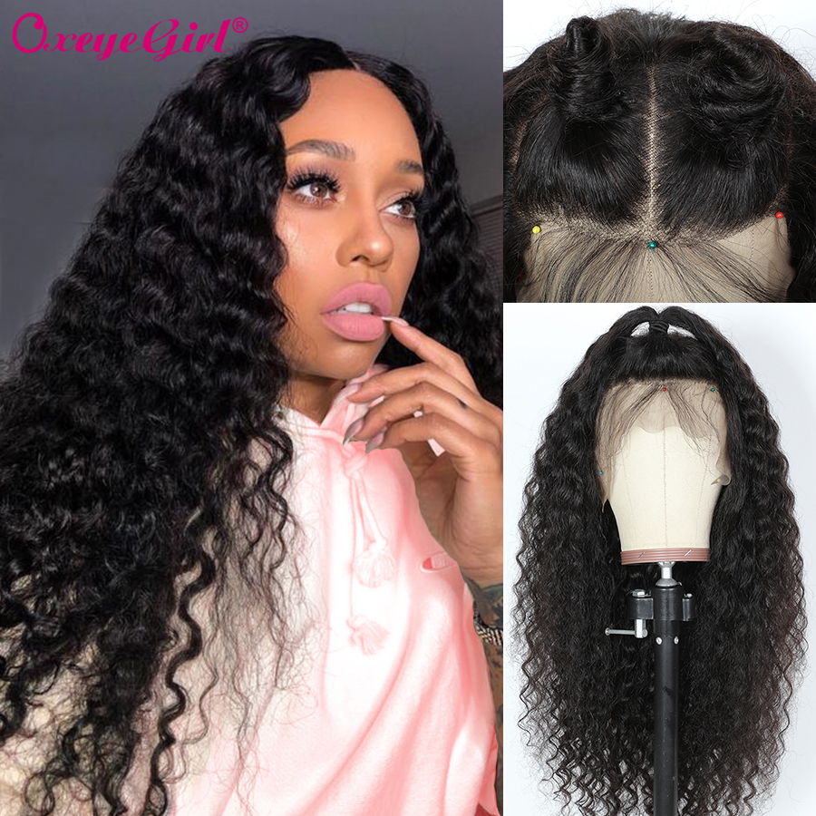 13x6 Lace Front Wig Deep Wave Wig Brazilian Hair Pre Plucked Lace Front Human Hair Wigs Oxeye Girl Remy Curly Human Hair Wig