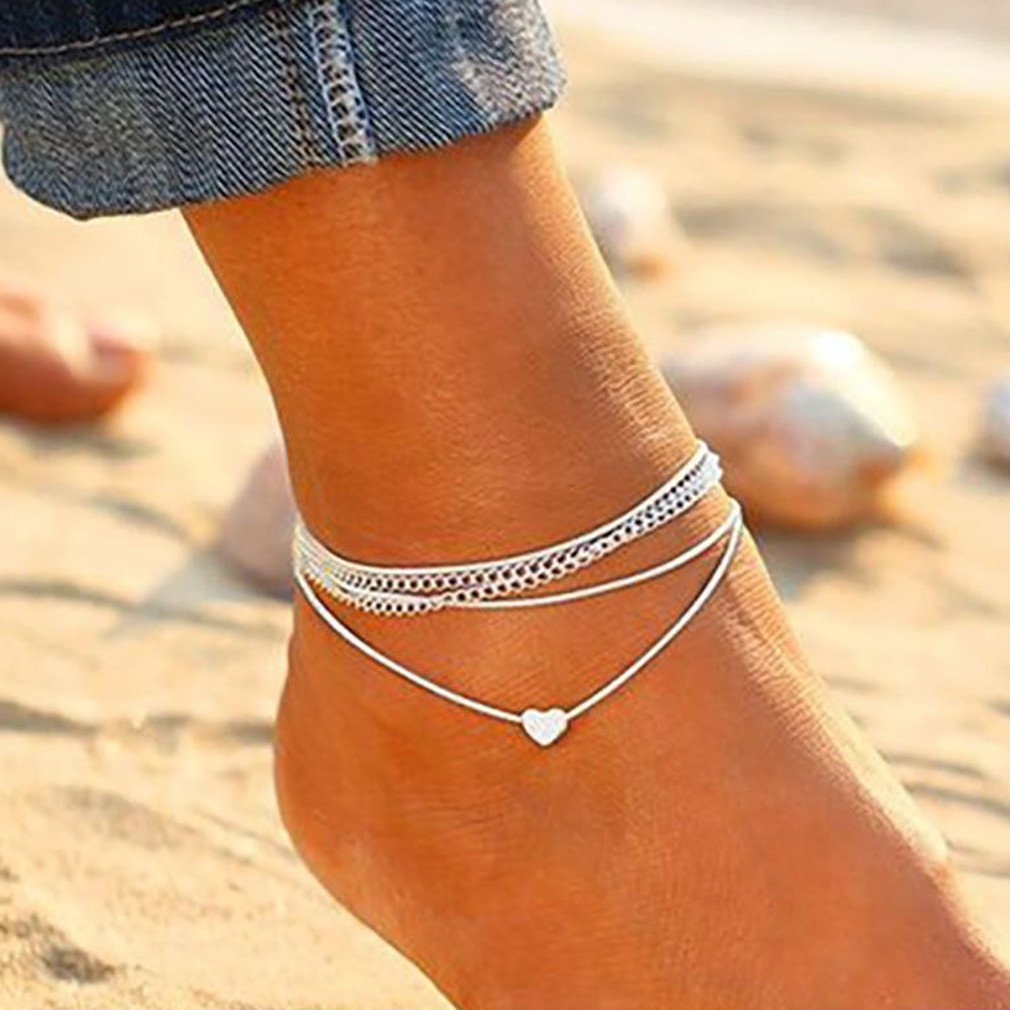 Carlota Ornaments Ankle Chain Metal Chic Double Layer Wedding Bridal Chain Charm Beads Foot Bracelet Anklet For Leg 1