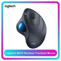 Logitech m570 sem fio trackball mouse desenho suporte a teste de escritório com receptor usb 1000dpi para desktop/computador portátil|Mouse| |  -