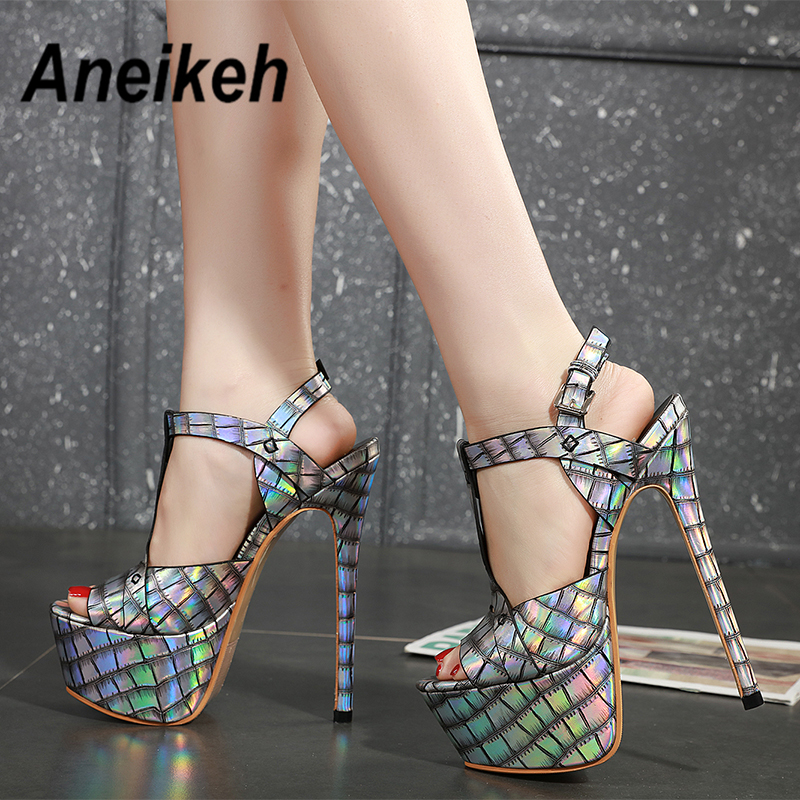 Aneikeh 2020 Summer Sexy Sequins Platforms Gladiator Sandals Shoes Woman Ankle Strap Fetish Thin High Heel Peep Toe Party Shoes