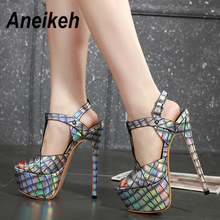 Aneikeh 2020 Summer Sexy Sequins Platforms Gladiator Sandals Shoes