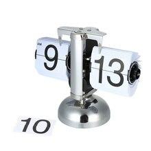 Маленькие настольные часы Ретро флип часы из нержавеющей стали Флип над внутренним приводом кварцевые настольные часы черный/белый