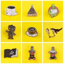 Metal Chain Series Badge On Clothes Pin Planet Brooch Cat Astronaut Coffee Cup Enamel Brooch Badges Jewelry Gift for Friends enamel cat cactus pattern brooch