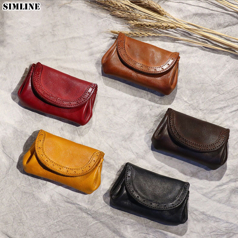Genuine Cow Leather Wallet For Women Men Vintage Handmade Short Small Credit Card Holder Coin Purse Money Bag Pocket Female Male