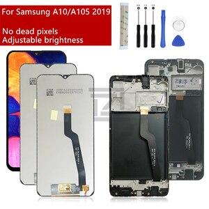Image 1 - لسامسونج غالاكسي A10 Lcd 2019 A105 A105F SM A105F شاشة تعمل باللمس محول الأرقام مع الإطار لسامسونج a10 شاشة إصلاح جزء