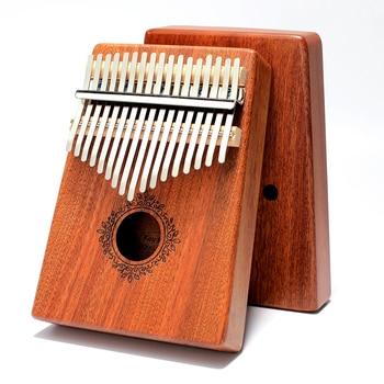 Kalimba 17 Keys Thumb Piano Mahogany Mbira Body Musical Instruments High Quality Handguard Wood Kalimba Piano Creative Music Box