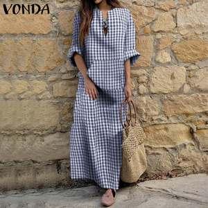 Kaftan Maxi Dresses For Women Vintage Full Length Dress 2020 VONDA Plus Size Bohemian Plaid Dress Casual Vestidos Femme 5XL