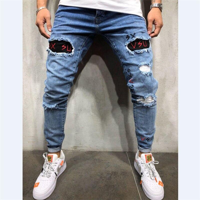 Men Snow Washed Patchwork Holes Ripped Jeans Plus Big Size Vintage Patch Slim Straight Denim Long Pants Men Long Jeans