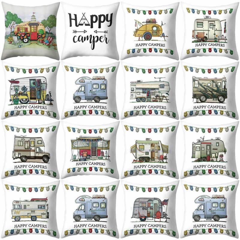 18/'/' Happy Campers caravan Linen Sofa  Cushion Cover Pillow Case Home Decor