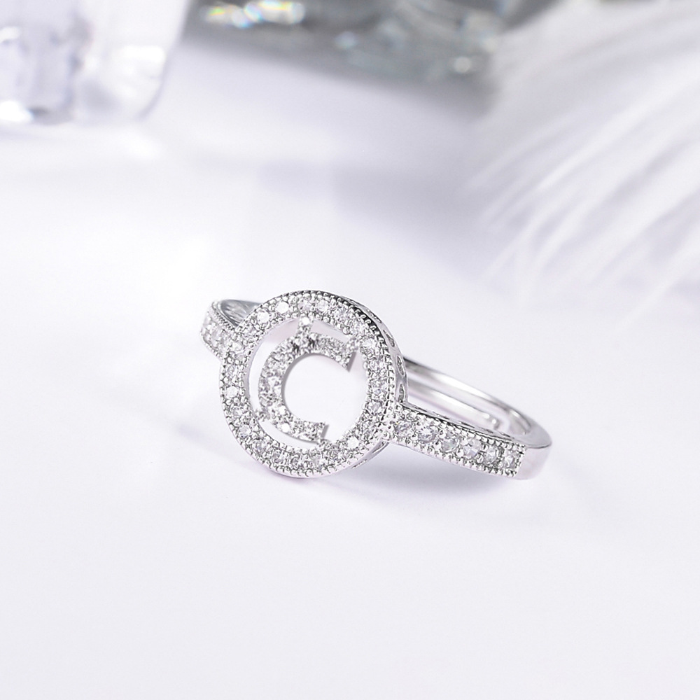 fashion mosaic cubic Zirconia Crystal Alphabet Letter Rings silver color Adjustable rings For Women Korean Jewelry 2