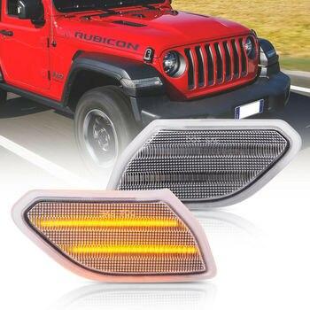2pc Clear Lens Led Front Side Marker Light for 2018-up Jeep Wrangler JL Gladiator JT 2Pcs Full Led Turn Signal Lamps Amber Color цена 2017