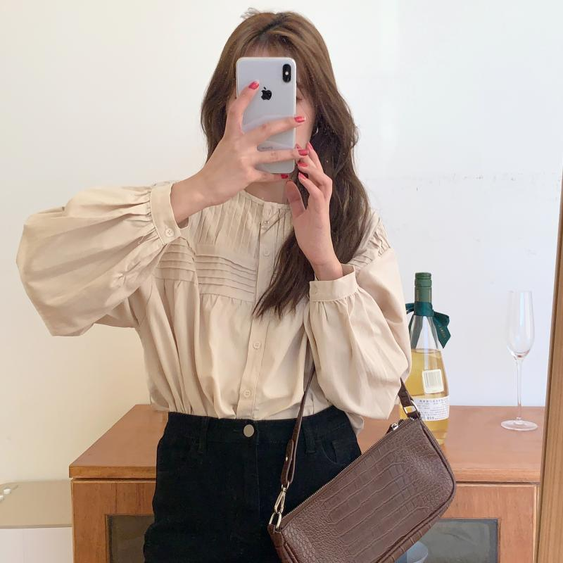 H4259114f9f184efb9574c0b196c25c634 - Spring / Autumn Korean O-Neck Long Sleeves Pleated Solid Buttons Blouse