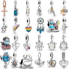 New 925 sterling silver heart rainbow unicorn beads birthday candle firefly pendant fit original bracelet charm woman jewelry
