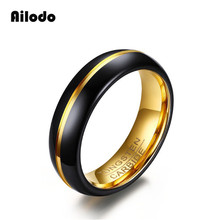 Ailodo Luxury Black Gold Tungsten Ring For Men Jewelry 6MM Carbide Engagement Wedding Fashion AL003