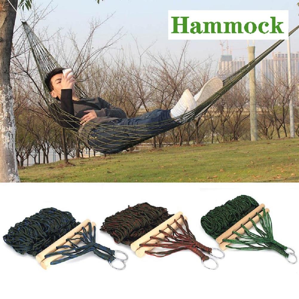 Portable Nylon Mesh Hammock Net Sleeping Bed For Outdoor Patio Porch Garden Travel Camping Blue Green Red|Hammocks| - AliExpress