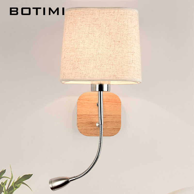 BOTIMI جديد وحدة إضاءة LED جداريّة مصباح لغرفة المعيشة فندق السرير الجدار الشمعدان مع نسيج عاكس الضوء E27 الإنارة السرير القراءة المنزل الإضاءة