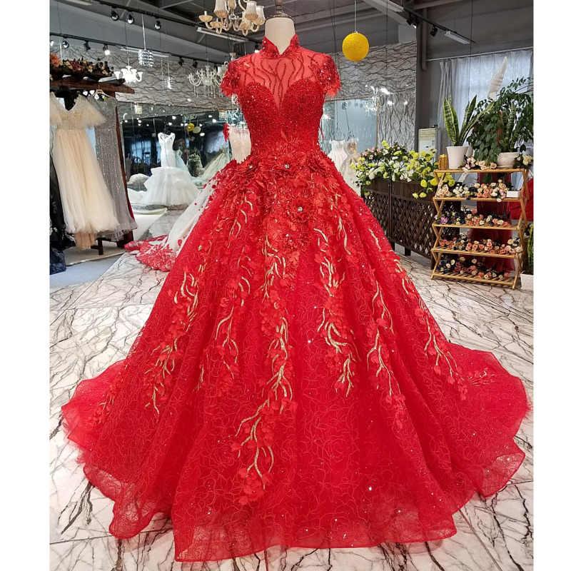 Bgw Ht3285 Elegante Rote Abendkleid Braut Spitze Blume Perlen High Neck Kurzarm Schone Lange Party Abendkleid Echt Foto Evening Dresses Aliexpress