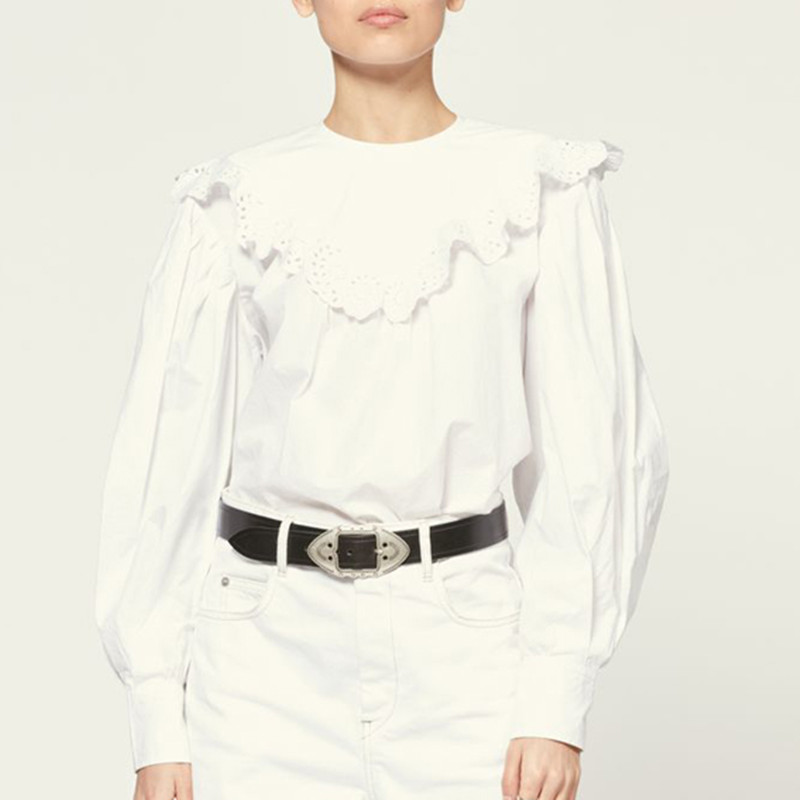 Women  O-neck Hollow out Shirt Lady Long Sleeve Embroidery  Blouse 2021 Early Autumn