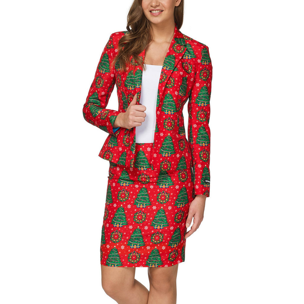 Spring Autumn Womens Blazer and Skirt Set Elegant Christmas Printed School Uniform Skirts Suits  Two Piece Suit Summer