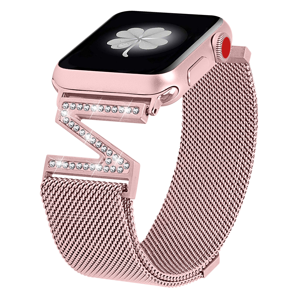 Women Diamond Strap For Apple Watch Band 38mm 42mm Iwatch 4 Band 44mm 40mm Milanese Loop Stainless Steel Bracelet Watchband 5 4